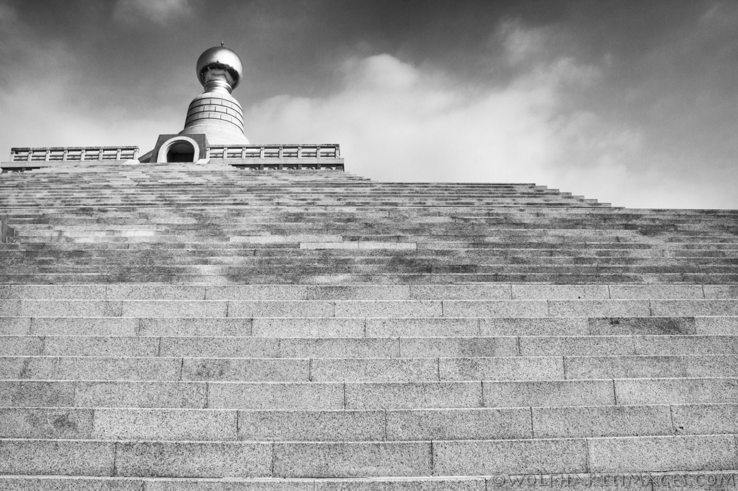 Fo Guang Shan Buddha Memorial Center, black and white, Nik Silver Efex Pro 2, architecture