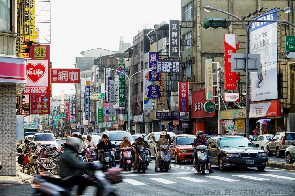 Taiwan, Zhongxi, traffic, scooters