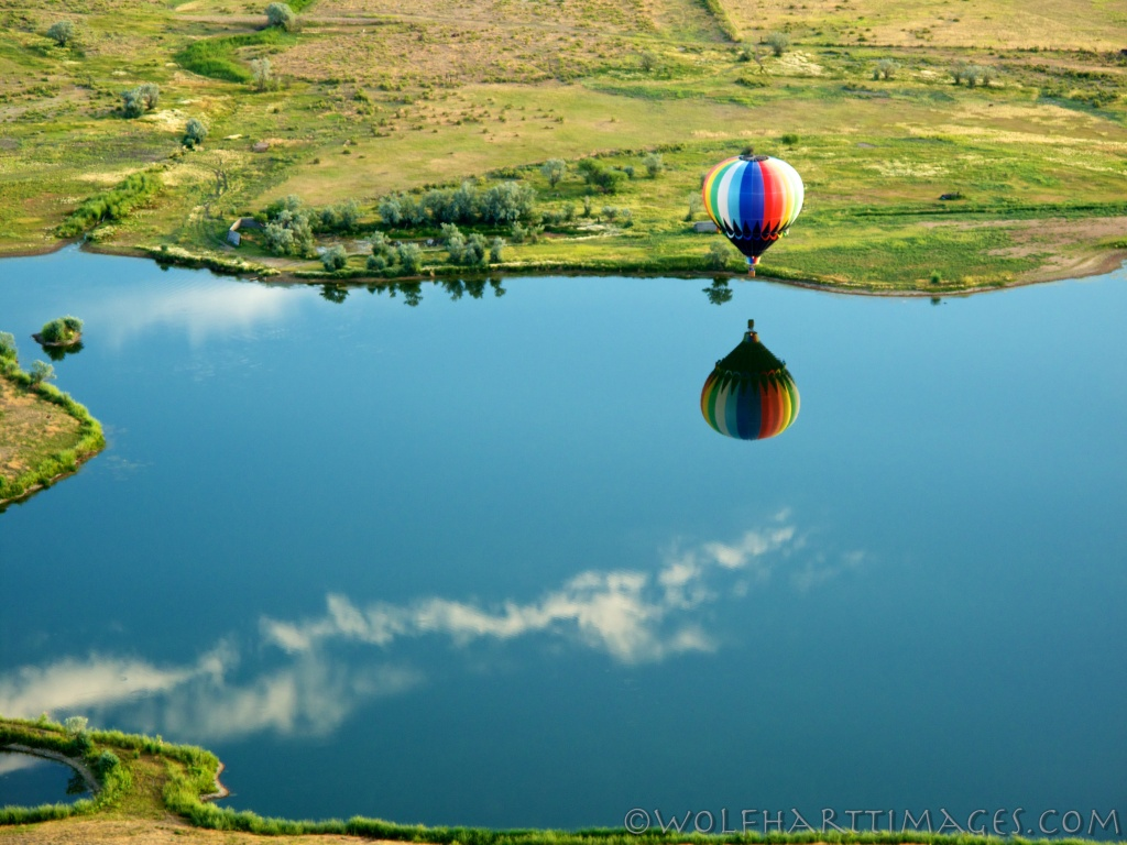 aviation, hot air, balloon, ballooning, Craig, CO, reflection