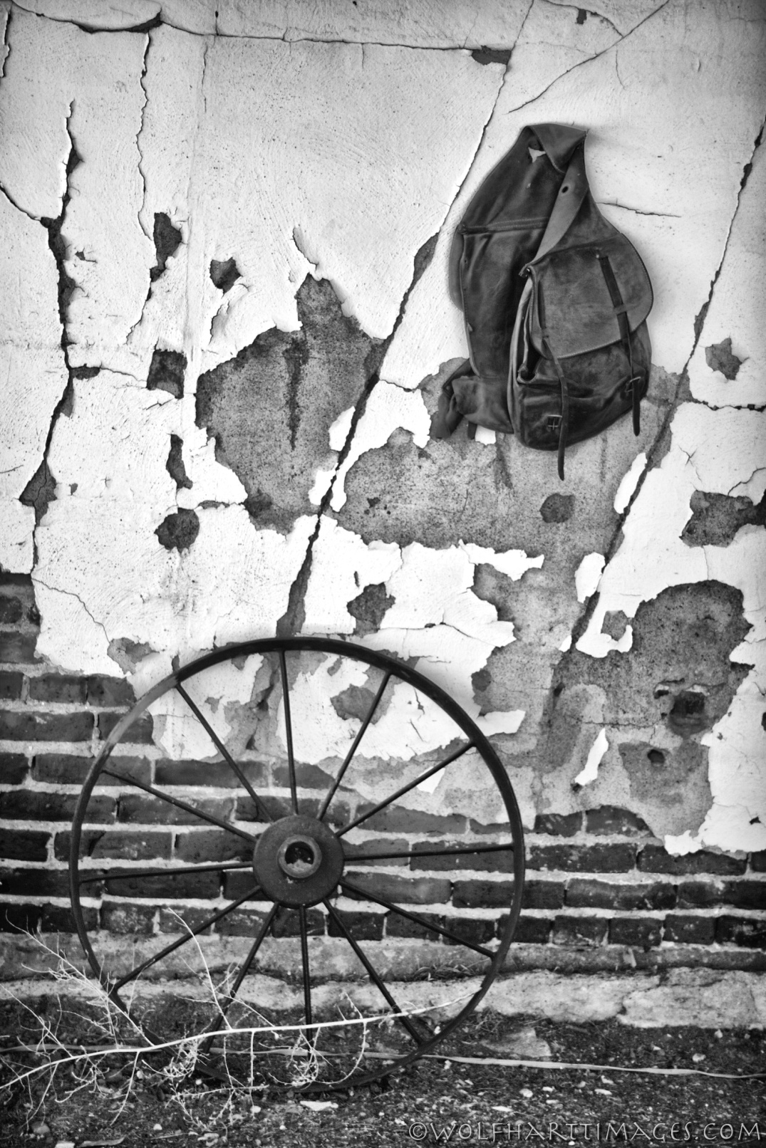 Old west saddle bag decorates a wall in Panguitch, UT, black and white, Nik Silver Efex Pro 2