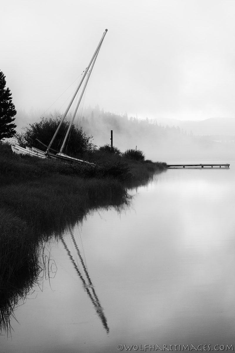Steamboat lake, fog, dawn, Silver Efex Pro 2, Nik software, black and white photography, boat, quiet, calm, silence