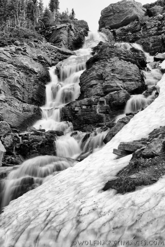 Glacier National Park, waterfall, Silver Efex Pro, Niksoftware