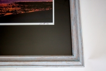 Wood frame with light blue wash with glass, 24x26