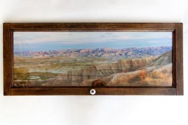 Photo lustre paper in custom cabinet door frame