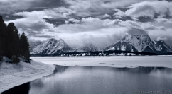 Jackson Lake with a snow storm approaching over the Tetons